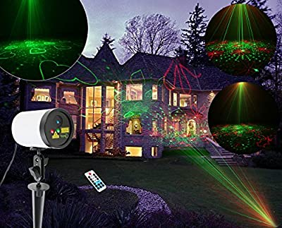 SUNY Outdoor Waterproof Laser Projector New Red Green RG 20 Gobos Patterns Blue LED Background Light JF04L-20RG Yard Tree Xmas