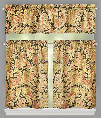 Traditions by Waverly Rustic Retreat Floral Stripe Window Tier and Valance Set, 52-inch Width