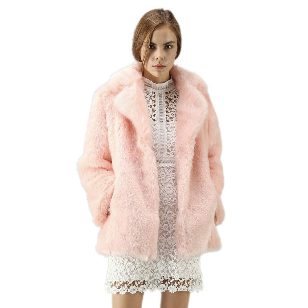 Bestow Nueva para Mujer Womens Warm Faux Fur Coat Jacket Winter Parka Prendas de Vestir Larga de Solapa Bolsillo Faux Fur Coat Top TV-001