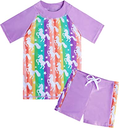 Lovekider Girls Two Piece Swimsuit Rash Guard Set Short Sleeve Bathing Suit Liner Swimwear with UPF 50 Sun Protection 3-10T