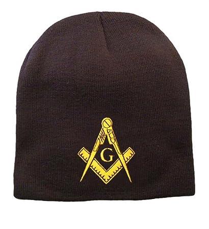 3106a949 Masonic Hat Winter - Black Beanie Cap - Golden Standard Masons Symbol. One  Size Fits