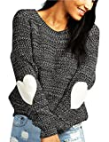 Shermie Women's cute Heart Pattern Patchwork Casual Long Sleeve Round Neck Knits Sweater Pullover Thick Dark Gray XL