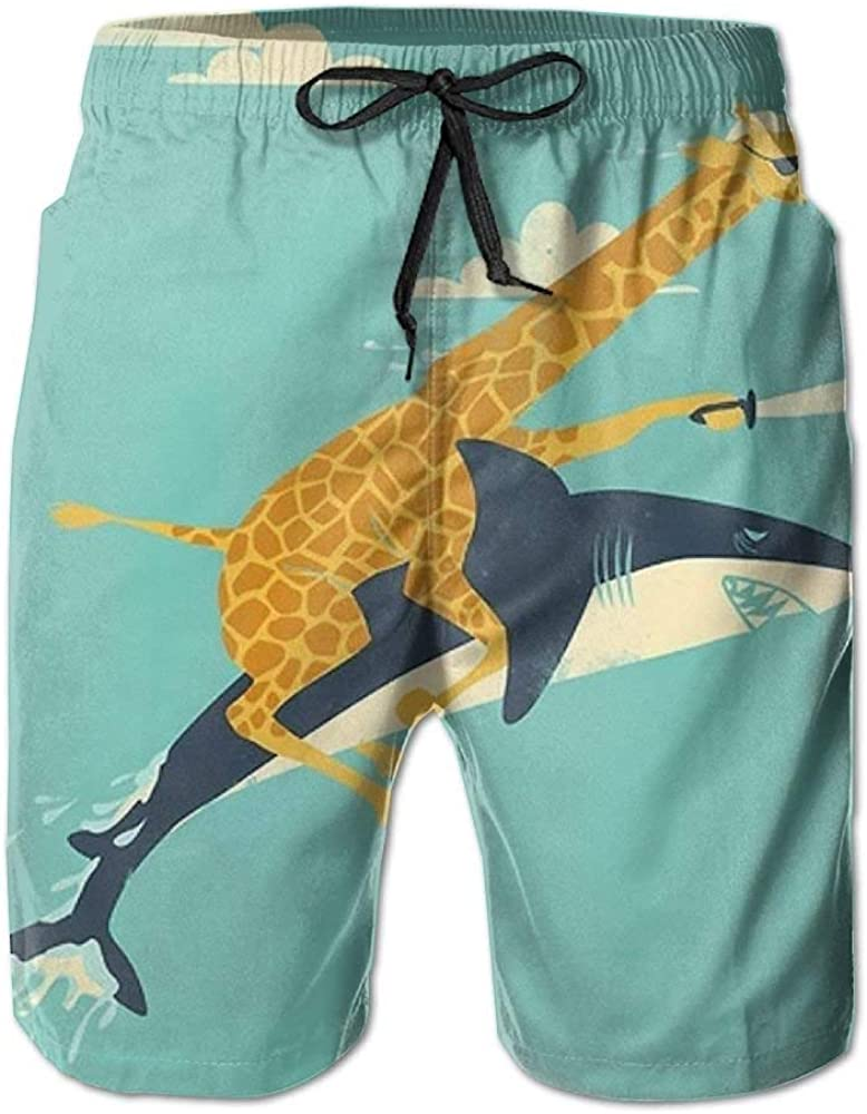 Funny Giraffe and Shark Illustration Men's Beach Shorts Swim Trunks Swimwear Home Shorts