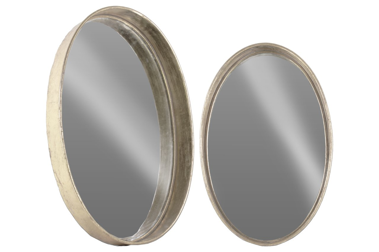 Urban Trends Metal Round Wall Mirror Set of Two Tarnished Finish Antique Foil Silver Gold, - Item Type: Mirror Item Material: Metal Item Finish: Tarnished Finish - bathroom-mirrors, bathroom-accessories, bathroom - 61zQNWGx%2B9L -