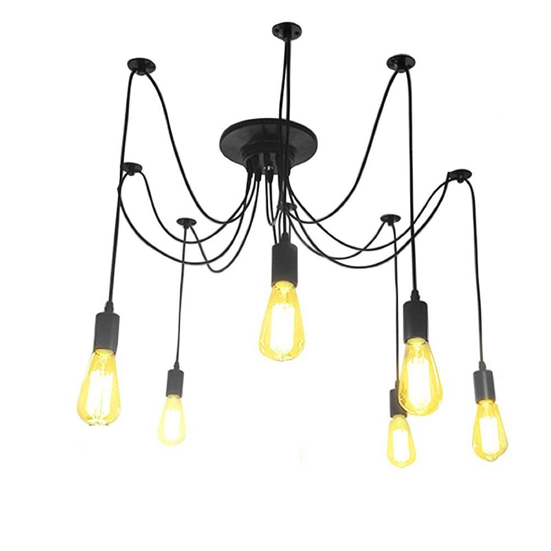 LemonBest® Kronleuchter Pendelleuchten 6 Lichter Edison hängende ...