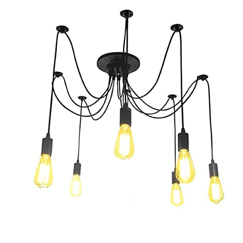 LemonBestreg Kronleuchter Pendelleuchten 6 Lichter Edison Hangende Lampen Deckenbeleuchtung