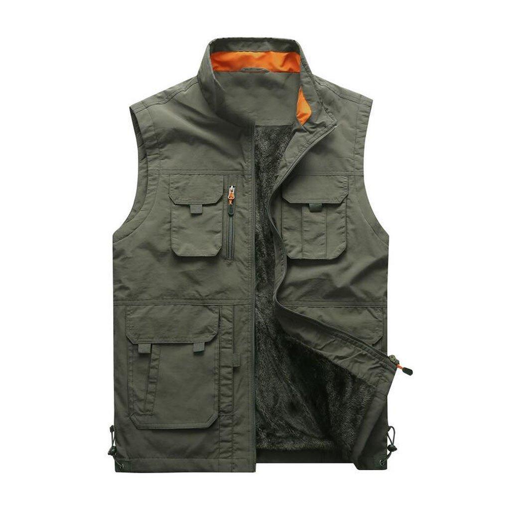 JBHURF Winter Herren Plus Weste Weste Outdoor-Multi-Tasche warme Weste große Größe Funktion Weste Armee grün (Farbe   Grün, größe   M)
