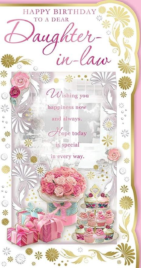 Brilliant Daughter In Law Birthday Card Happy Birthday Cakes Flowers Birthday Cards Printable Opercafe Filternl