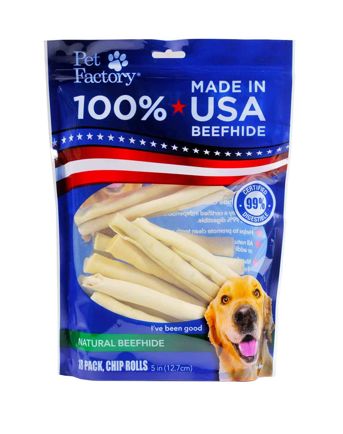 (36 Pack) U.S.A. BeefHide Chip Roll Chews for Dogs, Small 5'' (2 Packages with 18 Rolls each)