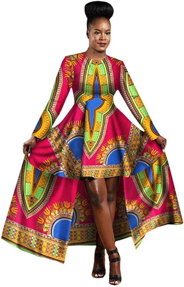 HITARGET 2019 Vestido Africano para Mujer Dashiki algodón Encerado impresión Batik Sexy Vestido Largo para Ropa Tradicional Femenina - Multicolor - L: Amazon.es: Ropa y accesorios