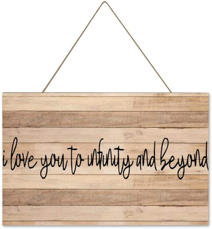BYRON HOYLE I Love You to Infinity and Beyond Hanging Wood Sign Pallet Wall Art Decor Wedding Sign Wooden Plaque Home Script Decor