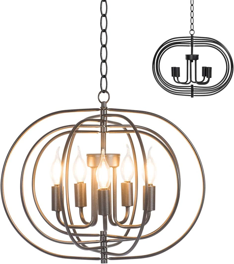 Tangkula Folding Rotatable Chandelier, 5 Lights Metal Ceiling Lamp with 39.5 Iron Chain, Indoor Folding Chandelier for Dinning Room, Bedroom, Living Room, Entrance, Hallway, Cafes, Black Black