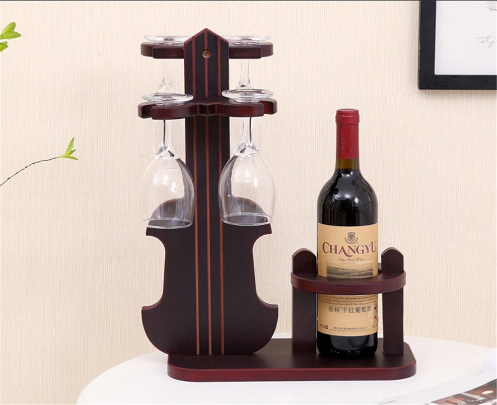 European Style Wine Glass Rack Hanging Wood Violin Wine Bottle Holder Presented Glass 4 Hooks For Bars Clubs Home Hotels Malls Offices