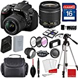 Nikon D5300 DX-format Digital SLR w/AF-P DX NIKKOR 18-55mm f/3.5-5.6G VR Lens, Professional Accessory Bundle (17 Items)