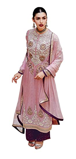 Light Pink Colour Silk Wedding Wear Heavy Thread Patch Work