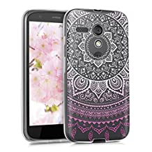 kwmobile Crystal TPU Silicone Case for Motorola Moto G (2013) in Design Indian sun light pink white transparent