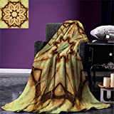 smallbeefly Mandala Digital Printing Blanket Trippy Ethnic Thai Mandala Motif with Dirty Grunge Smear and Rough Stains Art Summer Quilt Comforter Mustard Brown