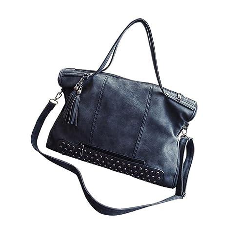 a66de6905d48 Egmy Fashion Retro Women Girl's Zippered Handbag Shoulder Bag PU ...