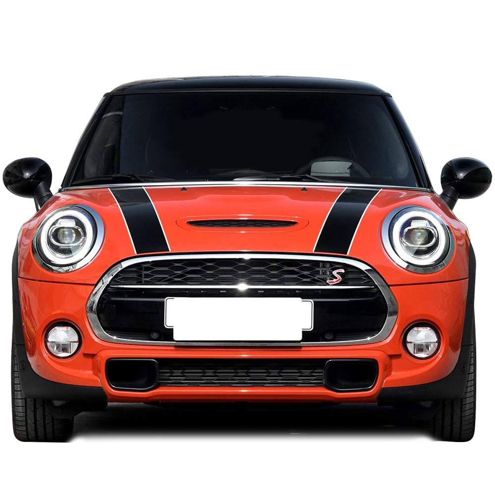Black-White Car Styling Hood Bonnet Stripes Sticker Trunk Rear Engine Cover Vinyl Decal Stickers for Mini Cooper R56 R57 F55 F56 Accessories