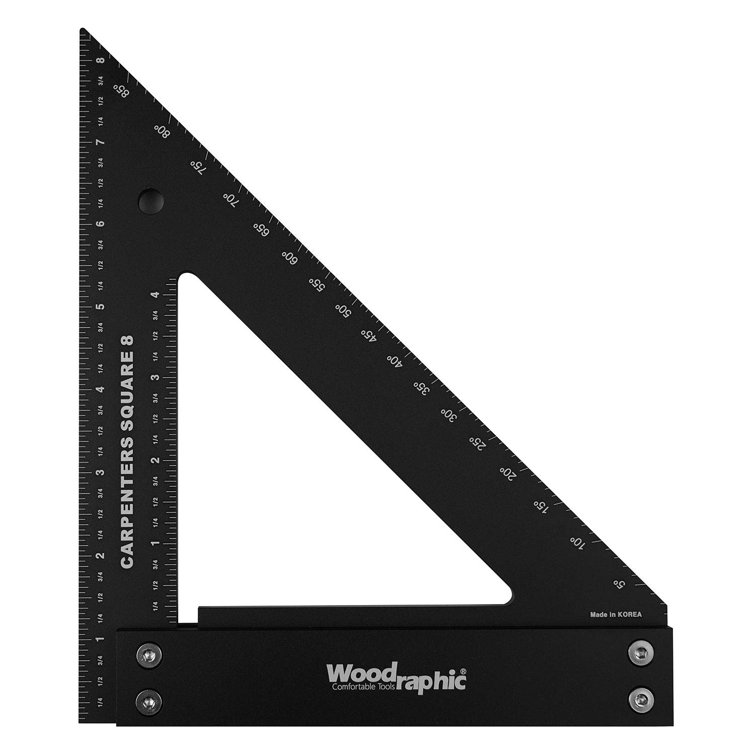 Woodraphic Professional Carpenter Square Layout Tools Framing Square Woodworking Tools Rafter Angle Square Aluminium Angle Scale Easy Read 8 Inch