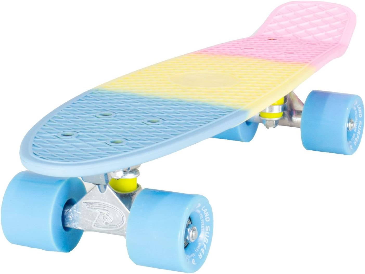 LAND SURFER/® Skateboard Cruiser Retro Completo 56cm con tabla de 3 tonos de colores diferentes cojinetes ABEC-7 Ruedas 59mm PU bolsa para el transporte