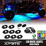 Xprite 3rd-Gen RGB LED Rock Lights with Bluetooth Controller, Timing Function, Music Mode - 4 Pods Multicolor Neon LED Light Kit