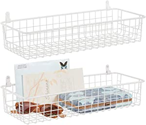 mDesign Portable Metal Farmhouse Wall Decor Storage Organizer Basket Shelf with Handles for Hanging in Entryway, Mudroom, Bedroom, Bathroom, Laundry Room - Wall Mount Hooks Included, 2 Pack - White
