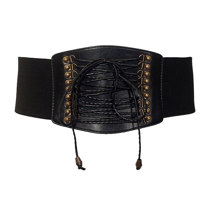 a14969987b eVogues Plus size Faux Leather Corset Look Elastic Belt Black - One Size  Plus at Amazon Women s Clothing store