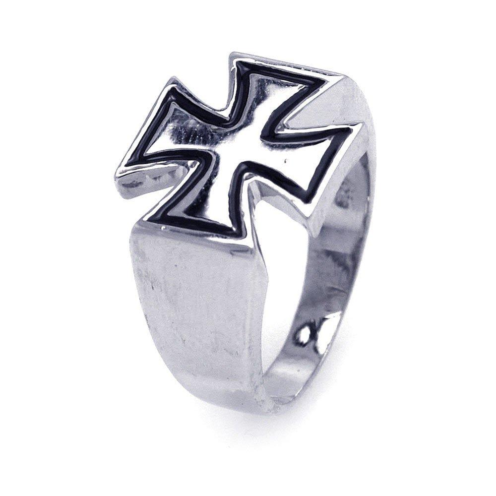 Sterling Silver Rhodium and Black Rhodium Plated High Polish Iron Cross Ring