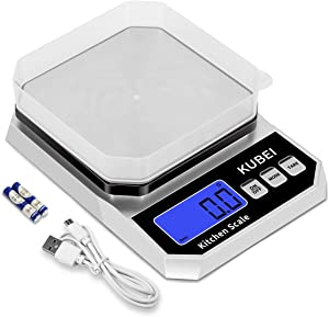 KUBEI Digital Kitchen Scale USB Rechargeable, Food Scale 5Kg x 0.1g,High Accuracy Weight Grams and oz for Cooking Baking