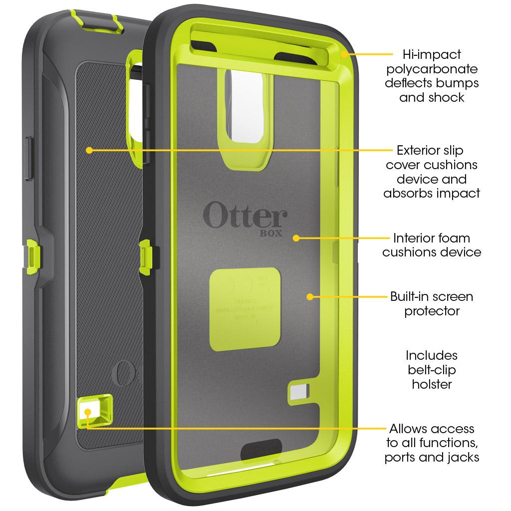 promo code cfa19 a3916 Otterbox Defender Series for Samsung Galaxy S5 - Retail Packaging - Citron  Kick (Citron Green/Slate Grey )