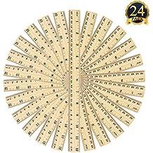 NIUTOP 24 Packs Student Ruler Wood Ruler Wooden School Rulers Office Ruler Measuring Ruler 2 Scale,30 cm and 12 Inch (24 Packs Wood Ruler) (Student Ruler Wood Ruler)