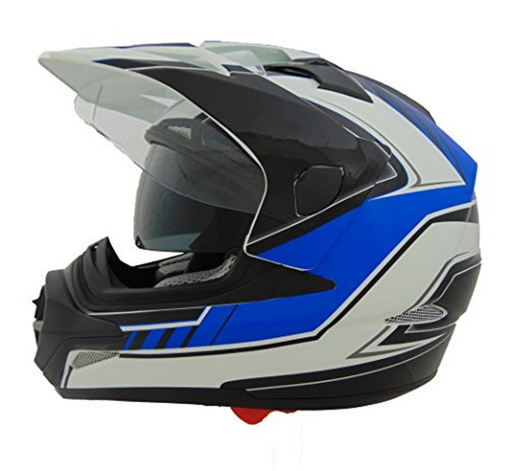 Stealth Cross Tour Dual Sport Helmet with Flow Graphic (Blue, X-Large)