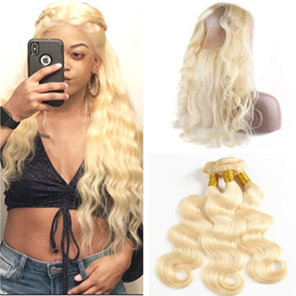 "#613 Blonde Hair Bundles with 360 Frontal Pre Plucked Bleach Blonde Body Wave Brazilian Hair 3 Bundles with 360 Closure Wavy Blonde Human Hair 360 Band Lace Frontal 22.5x4x2"" (24 26 28 with 22) 61zQSXr8J5L"
