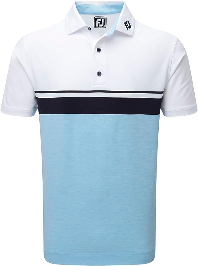 Footjoy Lisle Colour Block Polo de Manga Corta de Golf, Hombre ...