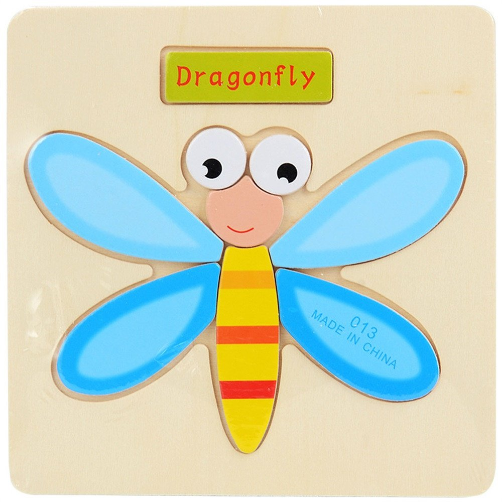 Digood Wooden 3D Dimensional Thicker Puzzle Educational Developmental Kids Training Toy Gift for Age 3-7 Years Old Child Boys Girls (Dragonfly)