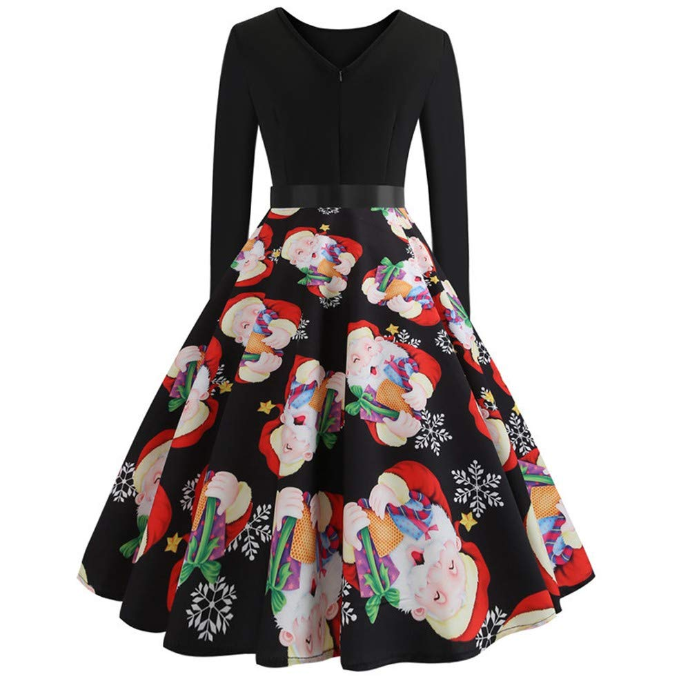 WOCACHI Christmas Vintage Dresses Women Long Sleeve Party Swing Dress Bow Sashes WOCACHI-181031