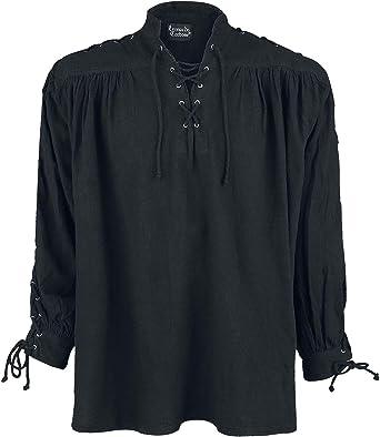 Leonardo Carbone Camisa Medieval con Cordón y Ojales Hombre Camiseta Negro, Schnürung
