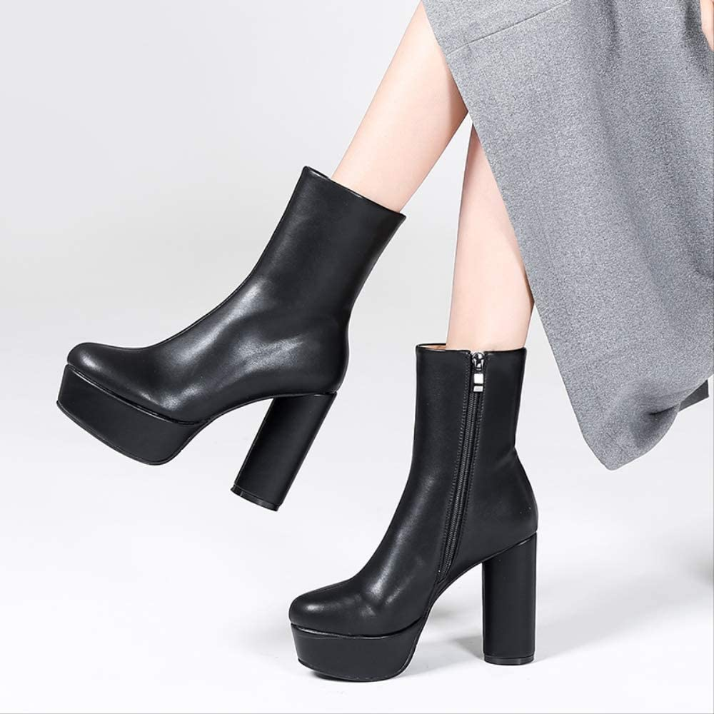 ACWTCHY Women Ankle Boots Leather Fashion Zip Thick Block Heels Round Toe Platform Ladies Shoes black shoes