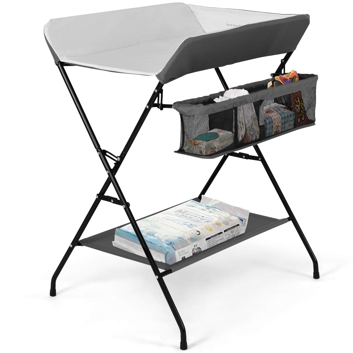 Costzon Baby Changing Table, Folding Diaper Station Nursery Organizer for Infant (Gray) by Costzon