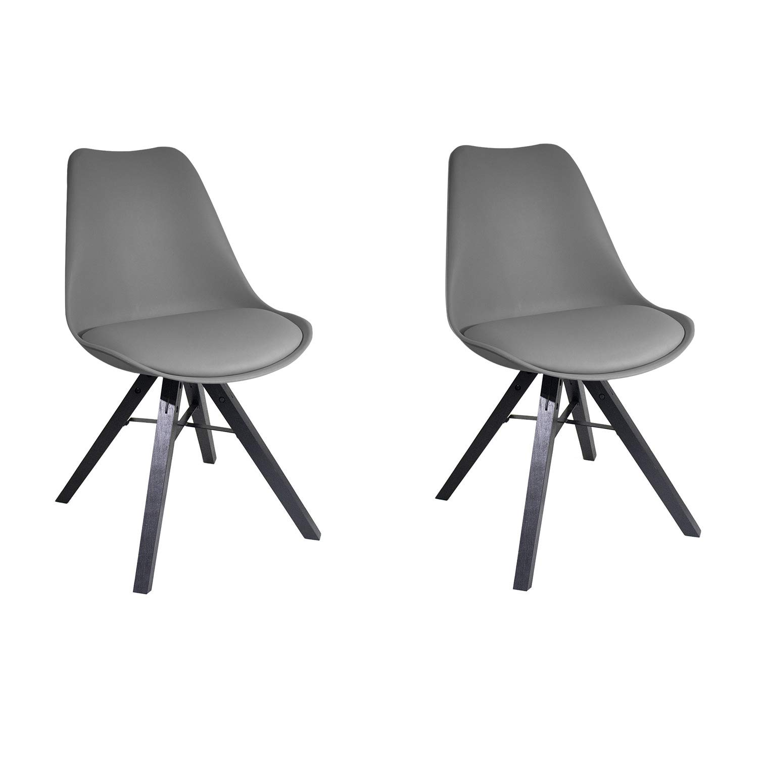 YUIKY Modern Dining Chair Set of 2 Padded Seat Natural Wood Legs Chair (Grey)