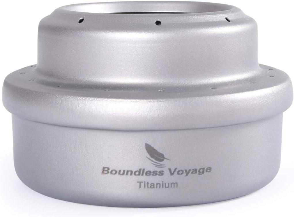 Boundless Voyage Estufa de Alcohol Titanium Spirit Camping Mini Spirit Cooker Quemador de Alcohol para Picnic Mochilero Senderismo