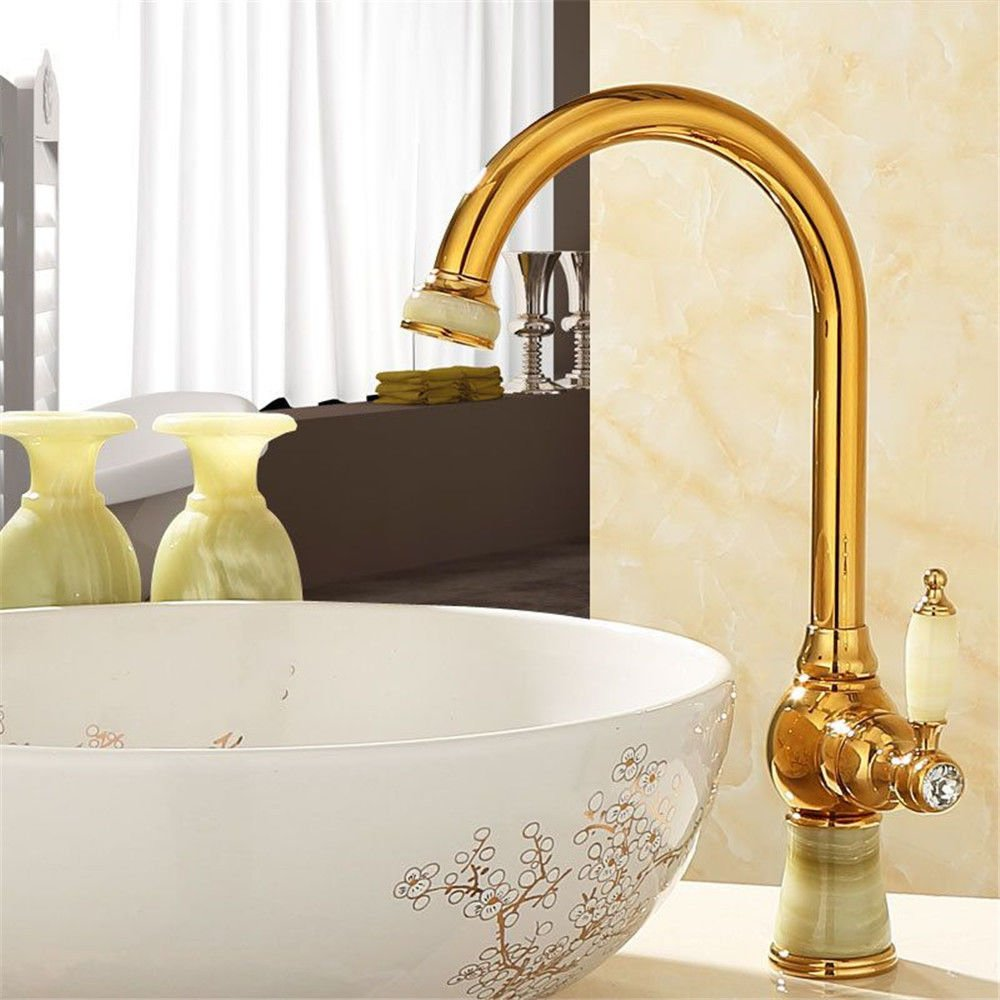 D Hlluya Professional Sink Mixer Tap Kitchen Faucet Natural jade full copper basin faucet hot and cold water mixing valve kitchen faucet 360° redating gold antique faucet,G