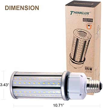 Thinklux 45w 5800lm Led Corn Cob Retrofit Bulb 5000k 175w Replacement For Hid Hps Metal Halide Or Cfl Wall Pack Post Top Street Light E39 Ul Listed Dlc4 2 Qualified Rebate Ready Amazon Com