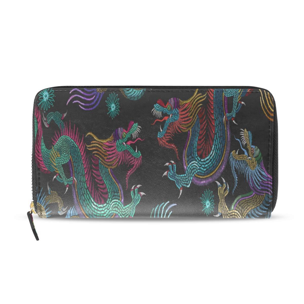 Slim Wallets For Men Cute Space Seamless Pattern Funny Long Passport Clutch Purses Zipper Wallet Case Handbag Money Bag For Lady Women Girl Wallet For Girls