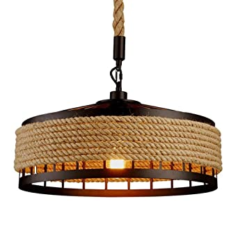 Lustre vintage en corde de chanvre rétro E27 industriel rétro lampe ...