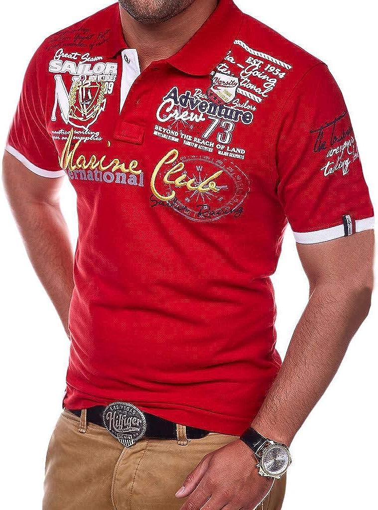 MOTOCO Hombre Camiseta Corta Letra Letra Botón ...