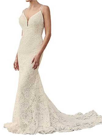 c9262b8cfdd7 Kevins Bridal Spaghetti Strap Lace Wedding Dresses Mermaid Wedding Gown  Backless at Amazon Women's Clothing store:
