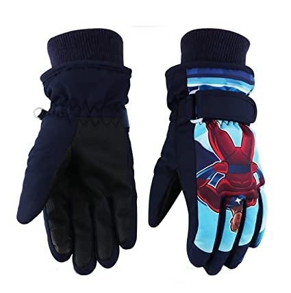 a7325ab05 Kids Ski Gloves,Winter Warmest Waterproof and Breathable Snow Gloves for Boys  Girls Children Skiing,Snowboarding Shoveling Windproof Juniors Thermal  Gloves ...