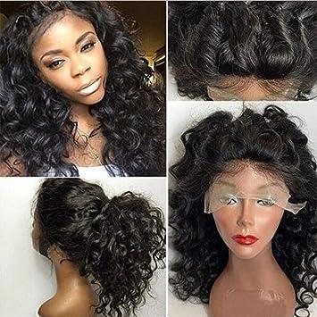 wig Pelucas del Pelo Humano del Frente del Cordón para Las Mujeres Afro Rizado Brasileño Peluca